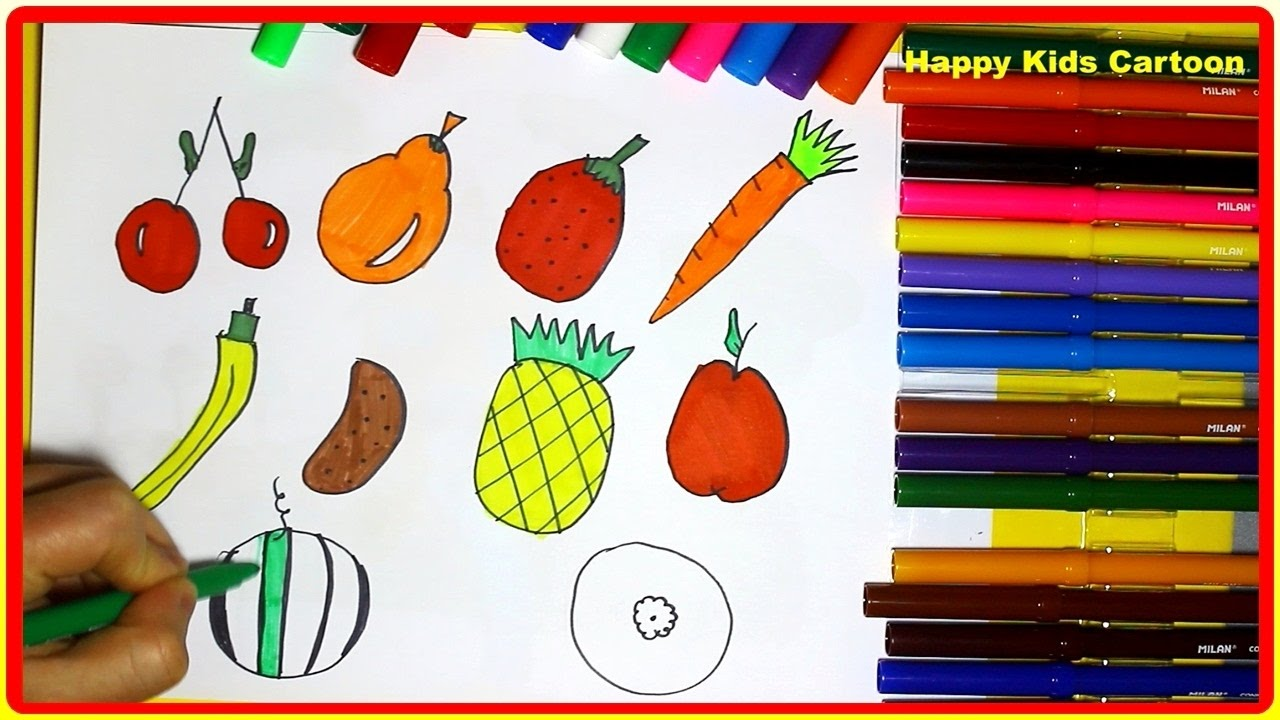 How To Color Fruits And Vegetables Fruits Drawing Tutorial Art For Kids How To Color Step By Step