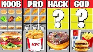 Minecraft Battle: FAST FOOD CRAFTING CHALLENGE - NOOB vs PRO vs HACKER vs GOD ~ Minecraft Animation