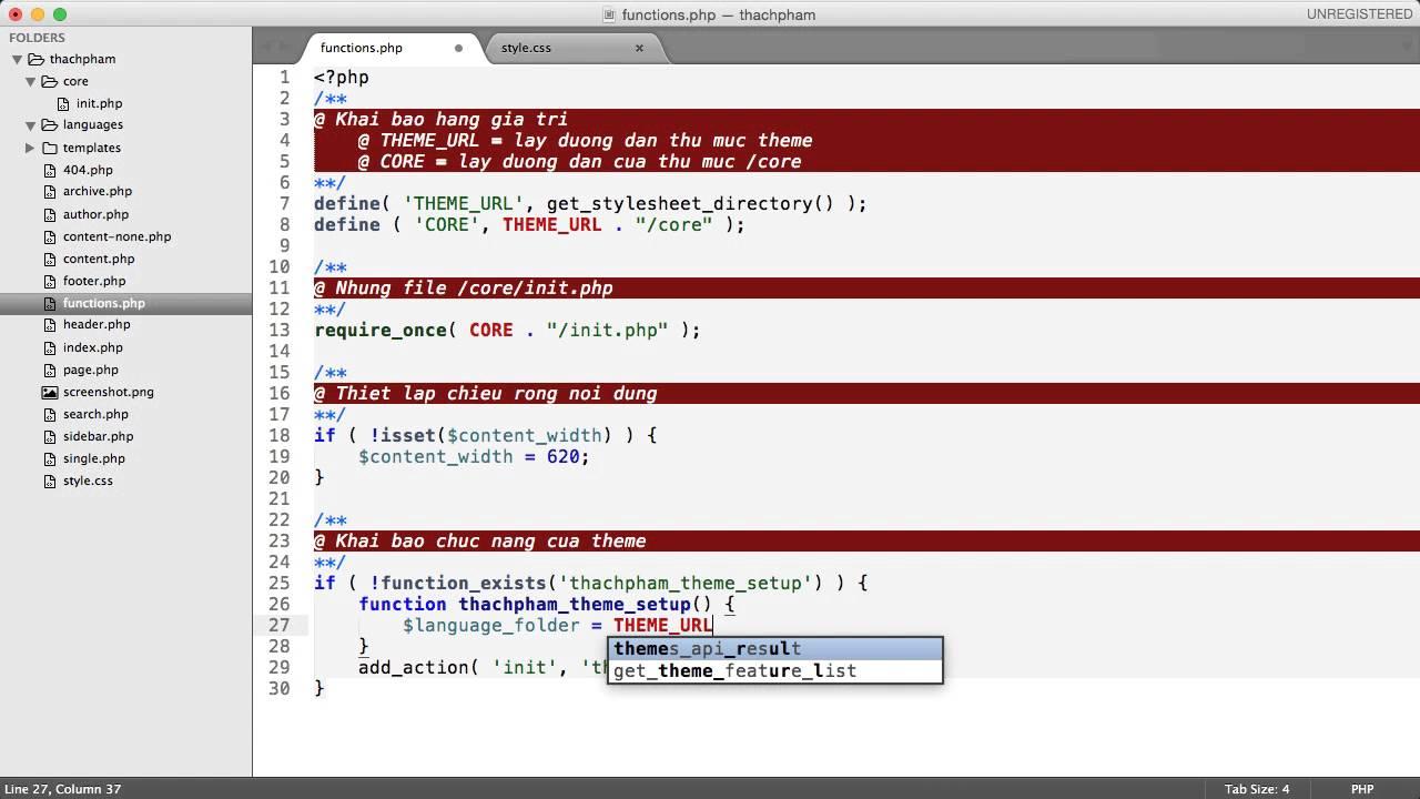 [Lập trình theme WordPress – 04] Viết code cho functions.php
