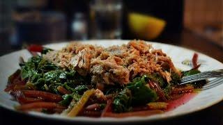 #Варёные листья буряка с тунцом . #Греческая кухня