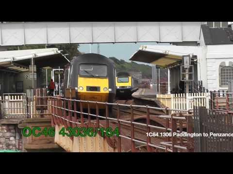 XC HST overtaken by GWR HST Dawlish 18/06/16