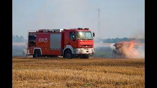 Pożar prasy rolniczej i ścierniska w Kuniowie
