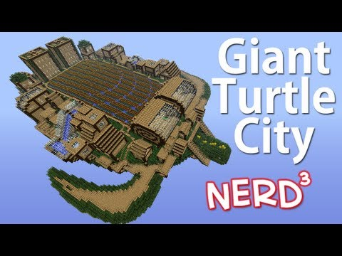 Colossal Flying Turtle City with Stadium Interior - Minecraft Build