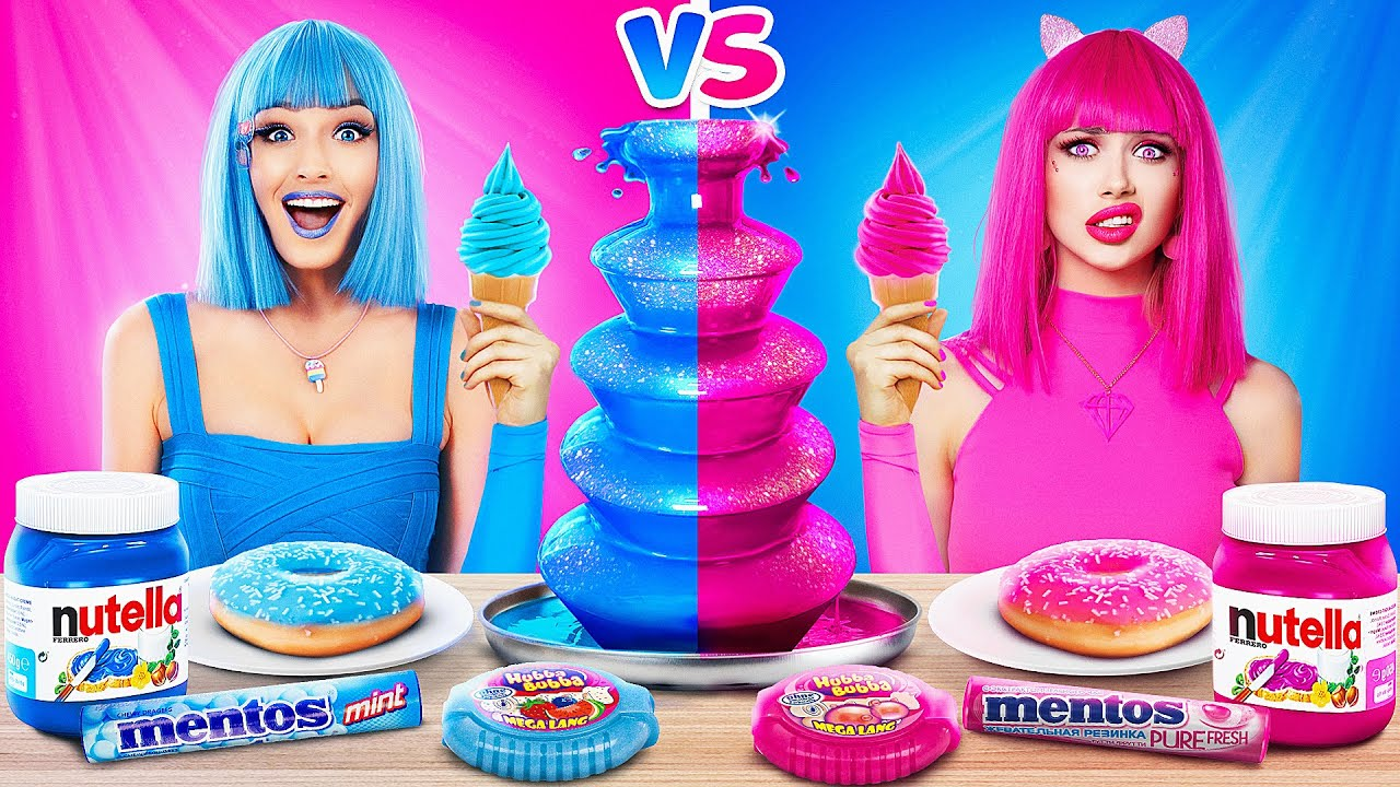 Pink Food vs Blue Food Challenge | Eating Only One Color Food 24 HRS! Mukbang by RATATA