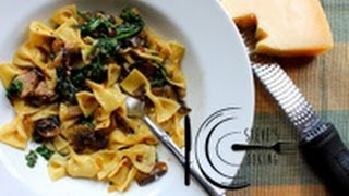 Fresh Farfalle with Mushrooms & Spinach recipe
