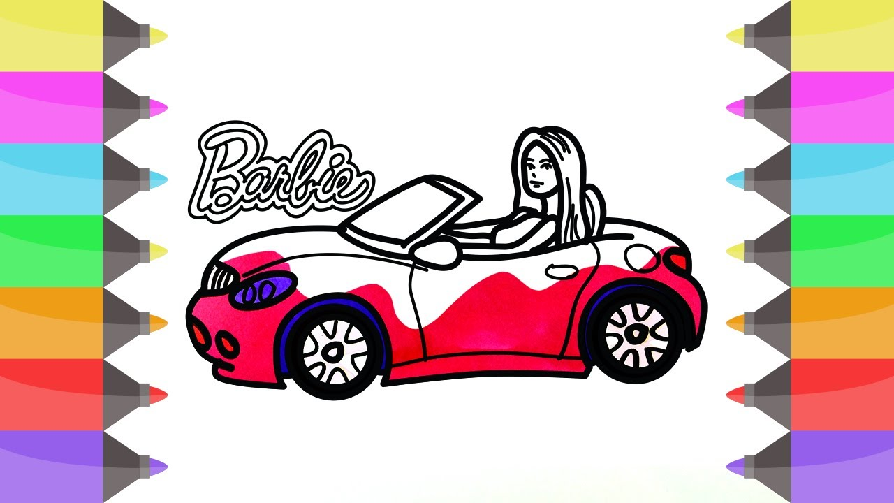 How to Draw Barbie Car | Coloring Pages for Girls | Cute Art Colors ...