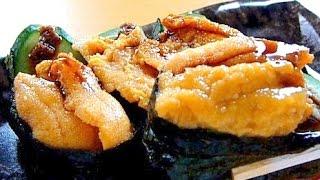 "Eating Sushi ""Uni(Sea urchin) nigirizushi"" うに握り寿司"