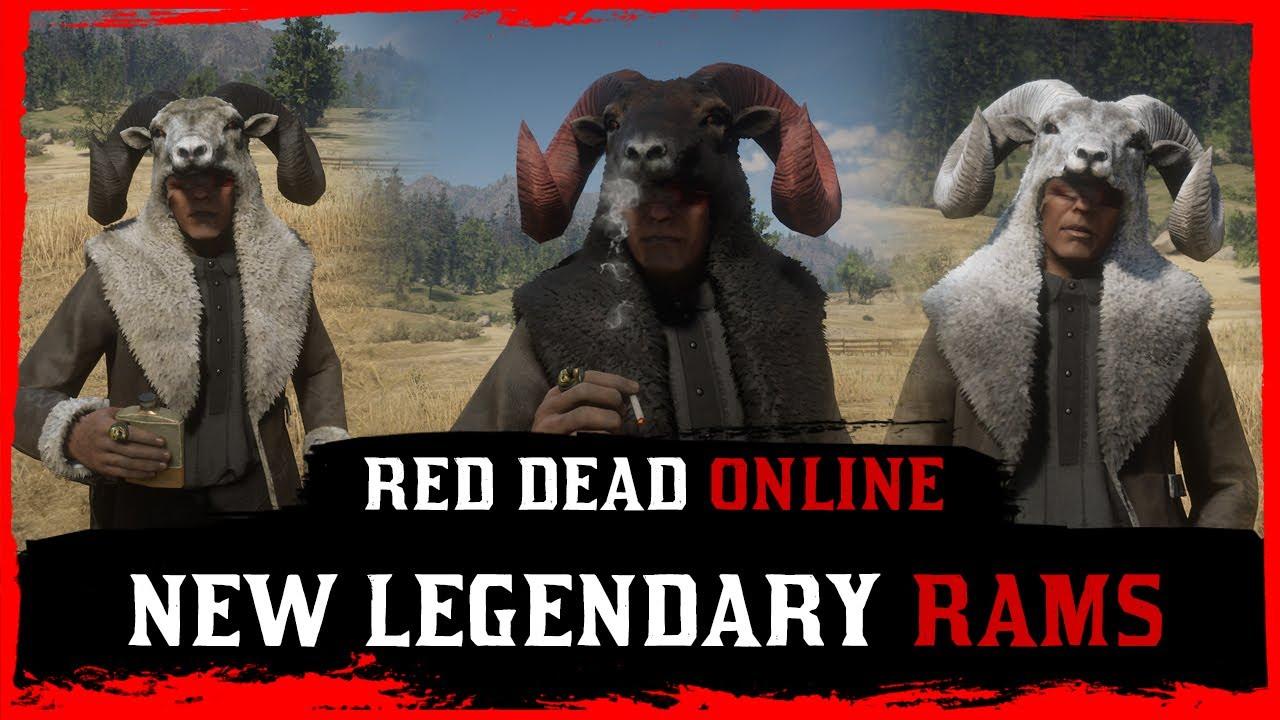 Red Dead Online - Legendary Chalk, Gabbro & Rutile Big Horn Rams