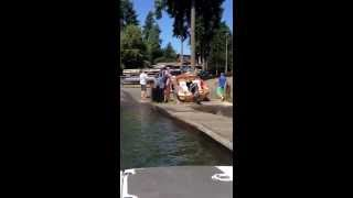 How not to put your boat back on the trailer after it falls off on the boat launch. Lake Tapps