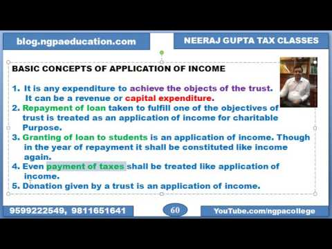 Exemption of charitable trust starts..Basic concepts of application of income