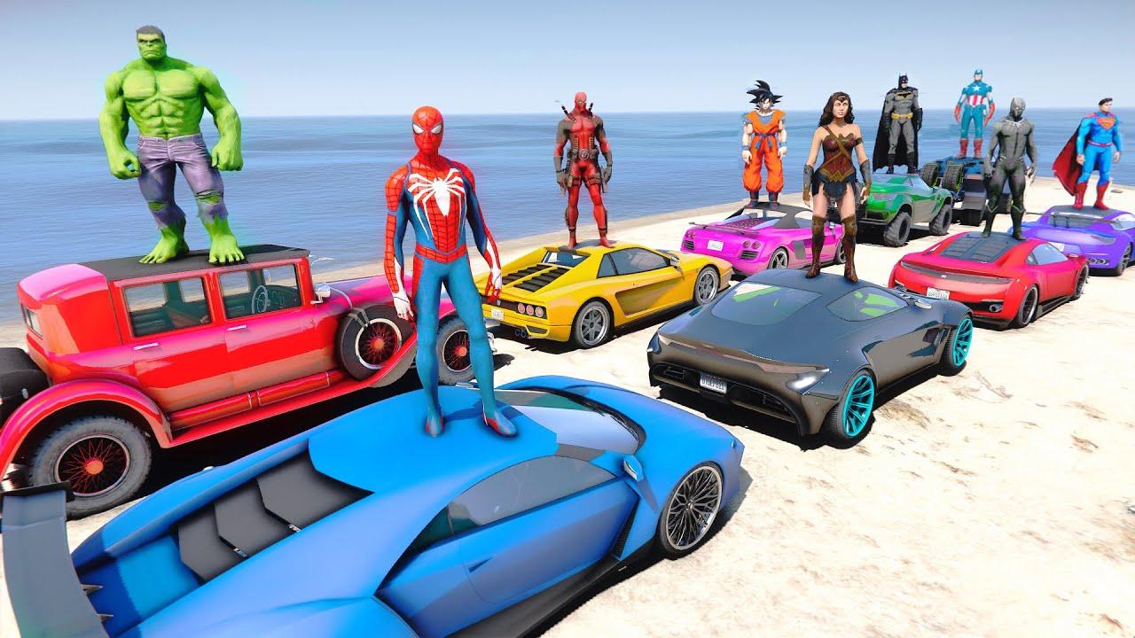 Superheroes LUXURY CARS Challenge With SPIDER-MAN IRON MAN HULK BATMAN - GTA V MODS