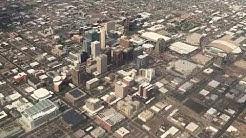 downtown Phoenix AZ views from Sky Harbor takeoff airplane