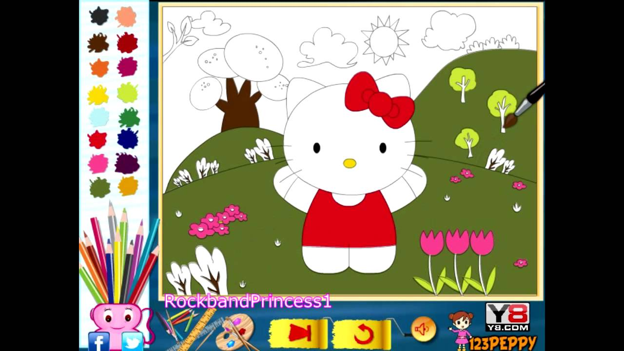 Hello Kitty Online Color Pages - Hello Kitty Coloring Games - YouTube