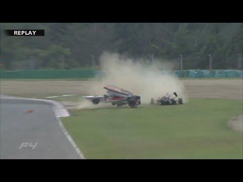 Formula 4 Japanese Championship 2017. Race 1 Sportsland SUGO. 1st Lap Crashes | Huge Crash Rolls
