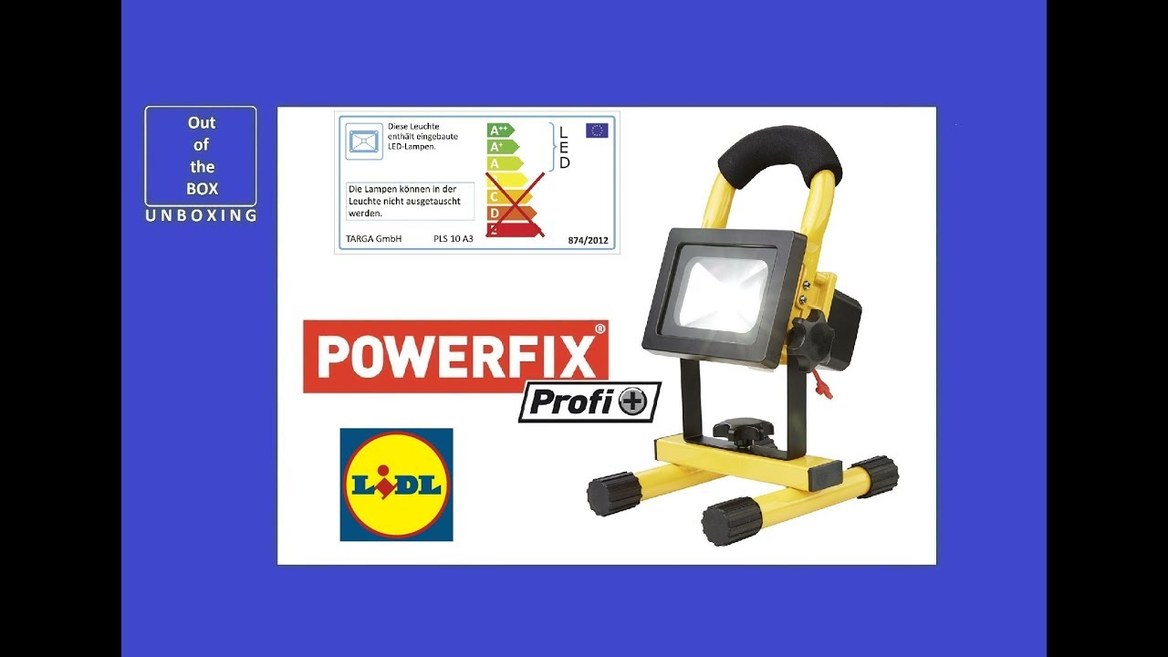 Powerfix Profi Rechargeable 10w Led Spotlight Pls 10 A3 Unboxing Lidli 12v 24v Led 10w 4h 8 5w