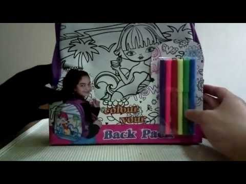 Color Your Backpack School Bag With Coloring Pens For Children