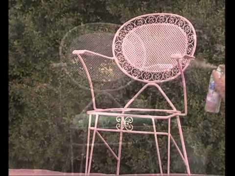 Cómo pintar una silla de metal con aerosoles Rust-Oleum - YouTube