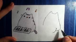 Как нарисовать кота Пушина за синтезатором?)))