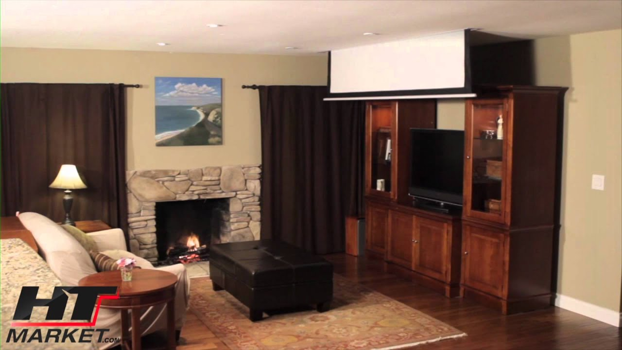 Merveilleux Projector Screen By Elite In Ceiling Electric   Home Theater Projector  Screen   YouTube