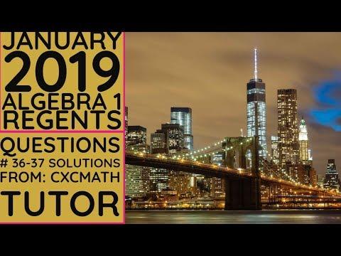 NYS Algebra 1 [Common Core] January 2019 Regents Exam Part 2 Questions #36-37 Solutions thumbnail