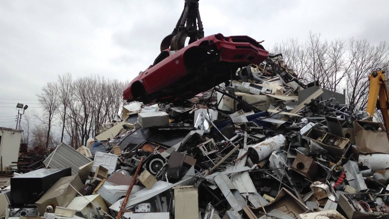 CLAW crushing my 1980 Camaro at the scrapyard car scrapping - YouTube