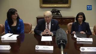 President Trump drops by the Women in Healthcare panel hosted by Seema Verma