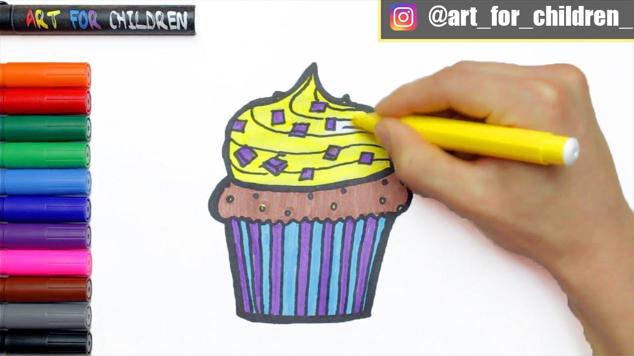 Muffin Zeichnen & Ausmalen für Kinder   Schritt für ...
