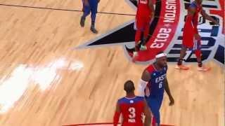 Kobe crosses Bosh over then Blocks Lebron James