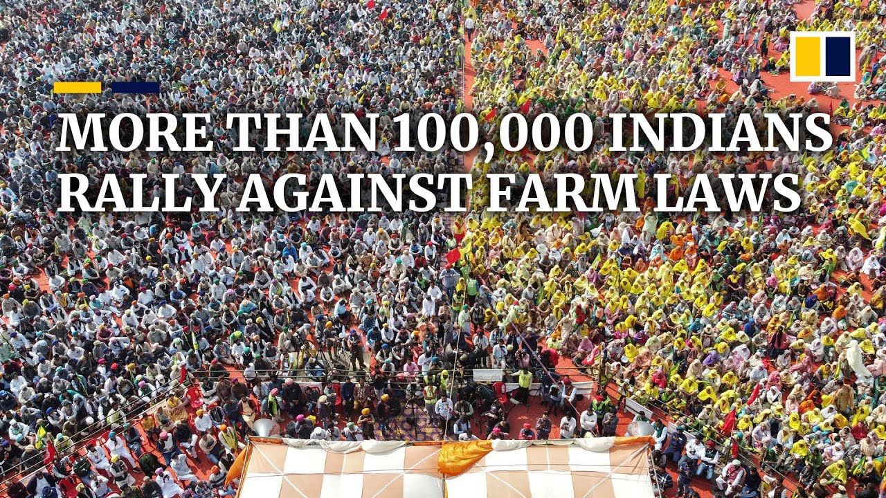 Tens of thousands of Indians rally against new farm laws as protests last nearly three months