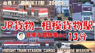 必見!JR貨物 相模貨物駅 国鉄DE11形ディーゼル機関車が、入替作業をしていました!JAPANEASE FREIGHT TRAIN CARGO EXCHANGE MISSION!