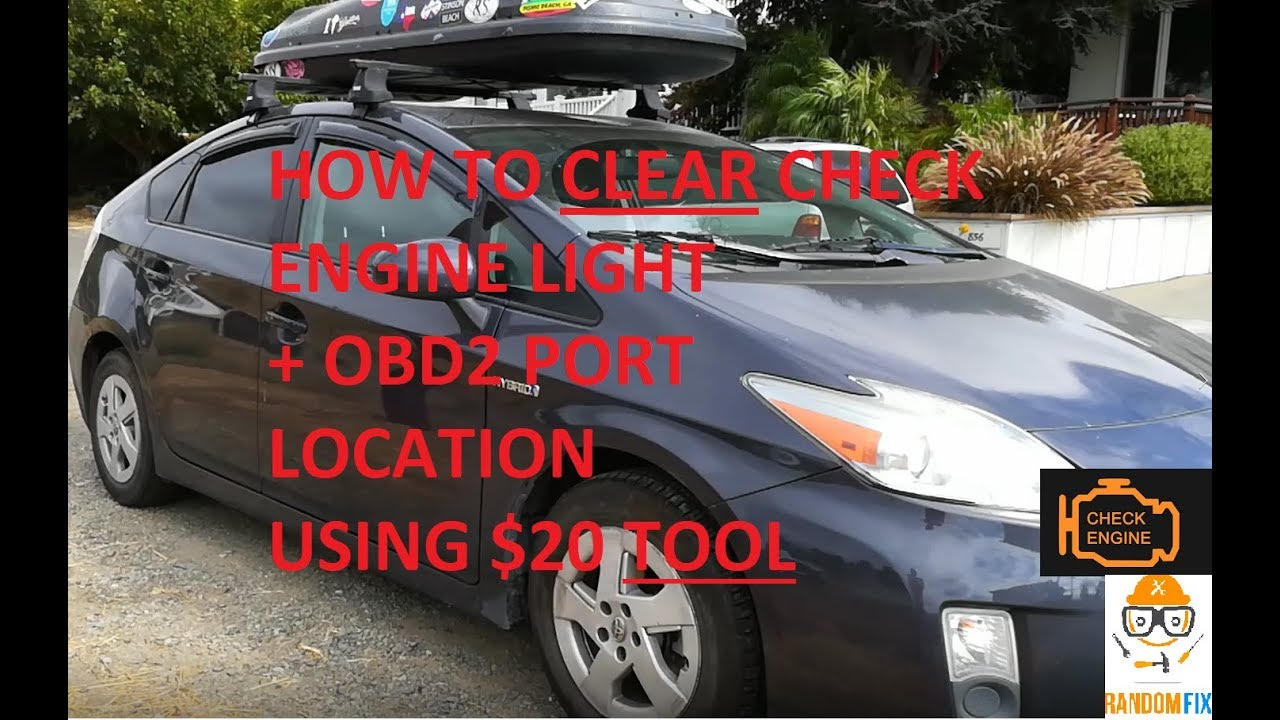 ▶️How To Clear 2010 2011 2012 2013 2014 2015 Toyota Prius Light and OBD2  Port Location