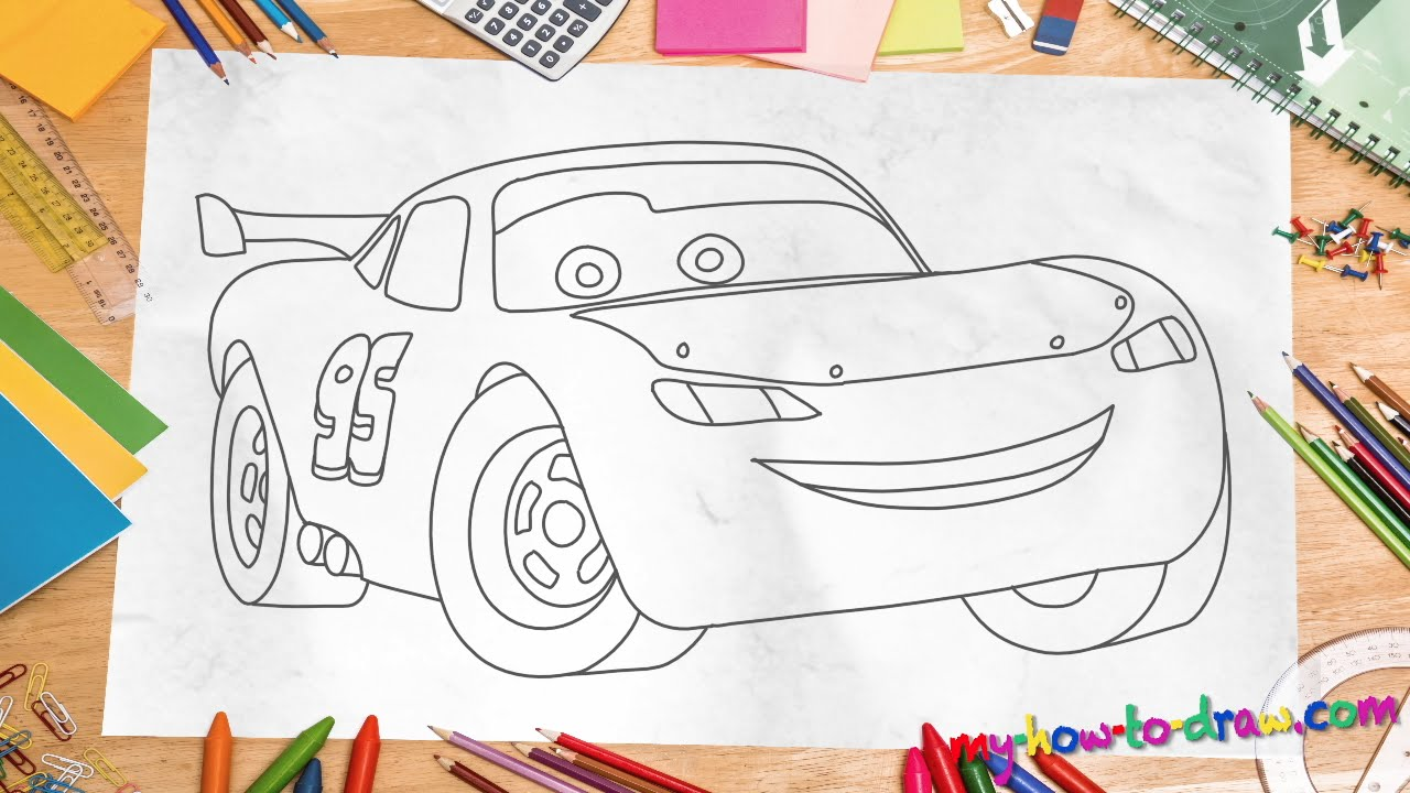 How To Draw Lightning Mcqueen  Easy Stepbystep Drawing Lessons For Kids   Youtube