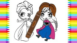 Colouring Disney Frozen Elsa and Anna Coloring Pages For kids Learning Colors frozen coloring pages
