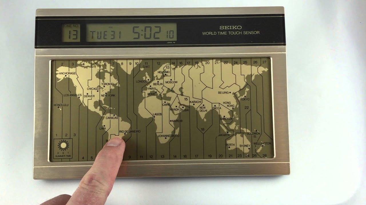 Seiko World Time Touch Sensor Digital Clock   YouTube