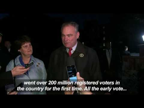 Democratic VP candidate Tim Kaine casts ballot