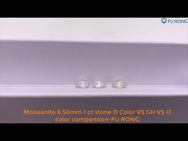 Loose Moissanite 6.50mm 1 ct stone D Color VS GH VS IJ color comparison-FU RONG