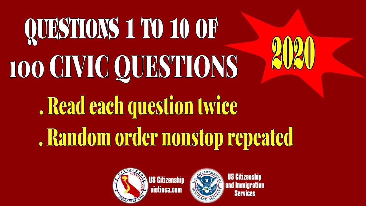 Questions 1 to 10 of 100 Civics Questions 2020 - Twice ...