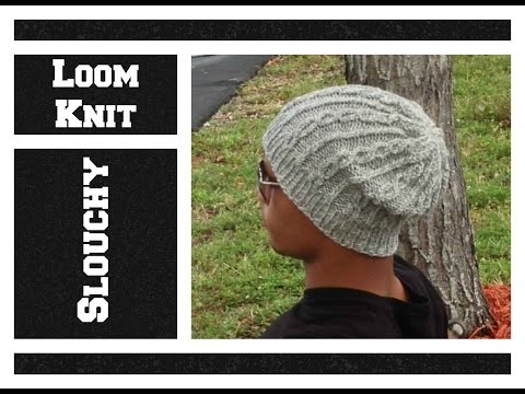 LOOM KNIT Hat Slouchy Cable Hat - Men or Women on Round Loom - EASY- Begining to End