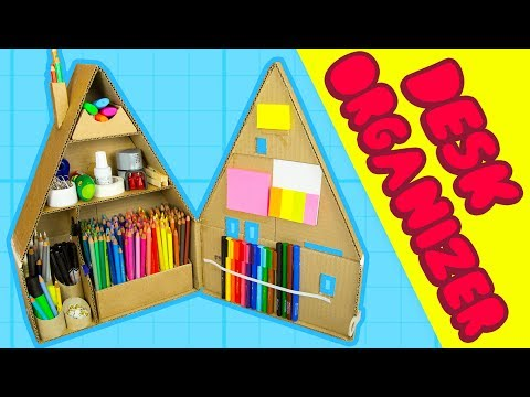 DIY Desk Organiser #2 - Inside The Cardboard House | Craft Ideas for Kids on BoxYourself