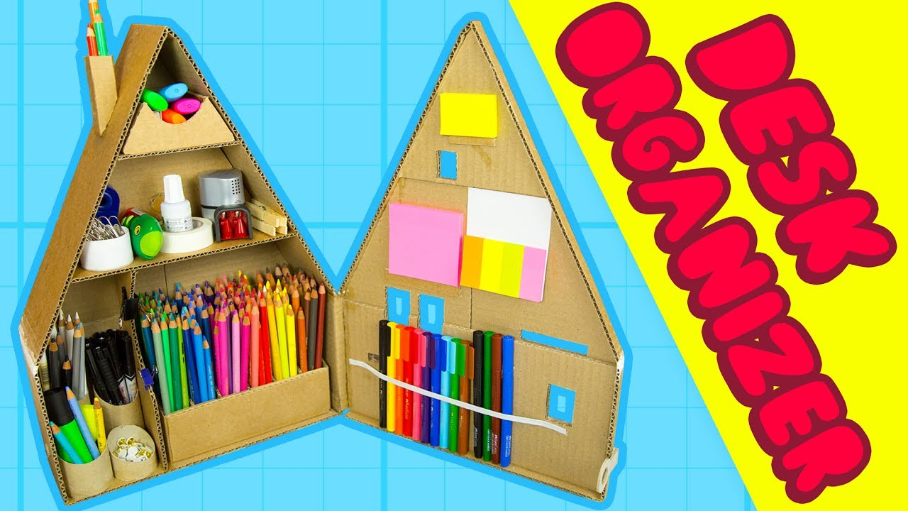 Diy Desk Organiser 2 Inside The Cardboard House Craft Ideas For