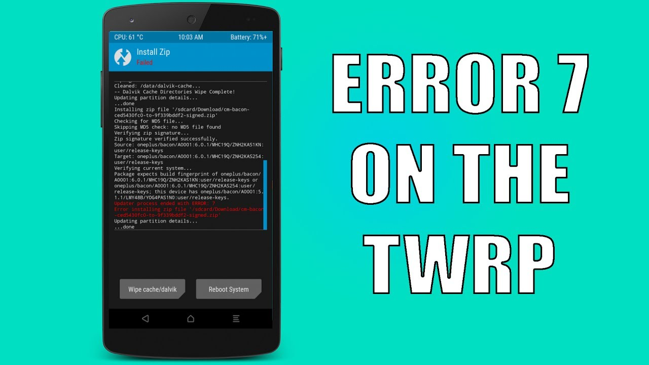 How to Solve the Error 7 on the TWRP while flashing a custom rom