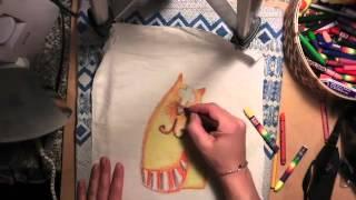 Рисуем восковыми мелками на ткани. Кот.