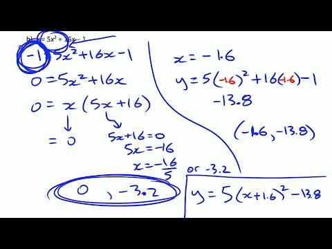 Quadb8 Partial Factoring To Determine The Vertex Of Quadratic