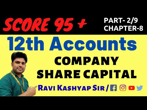 Accounts Class 12: Company Share Capital (Part-2),Chapter-8