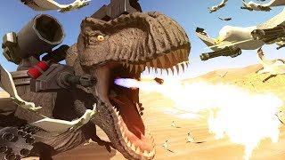 SUPER T-REX vs SEAGULLS WITH MINIGUNS - Beast Battle Simulator Gameplay | Pungence