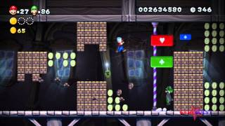 New Super Mario Bros. U - World Frosted Glacier-Ghost House: Swaying Ghost House (All Star Coins)