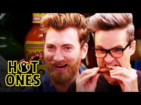 Rhett & Link Hiccup Uncontrollably While Eating Spicy Wings  Hot Ones