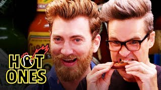 Download Rhett & Link Hiccup Uncontrollably While Eating Spicy Wings | Hot Ones Mp3 and Videos