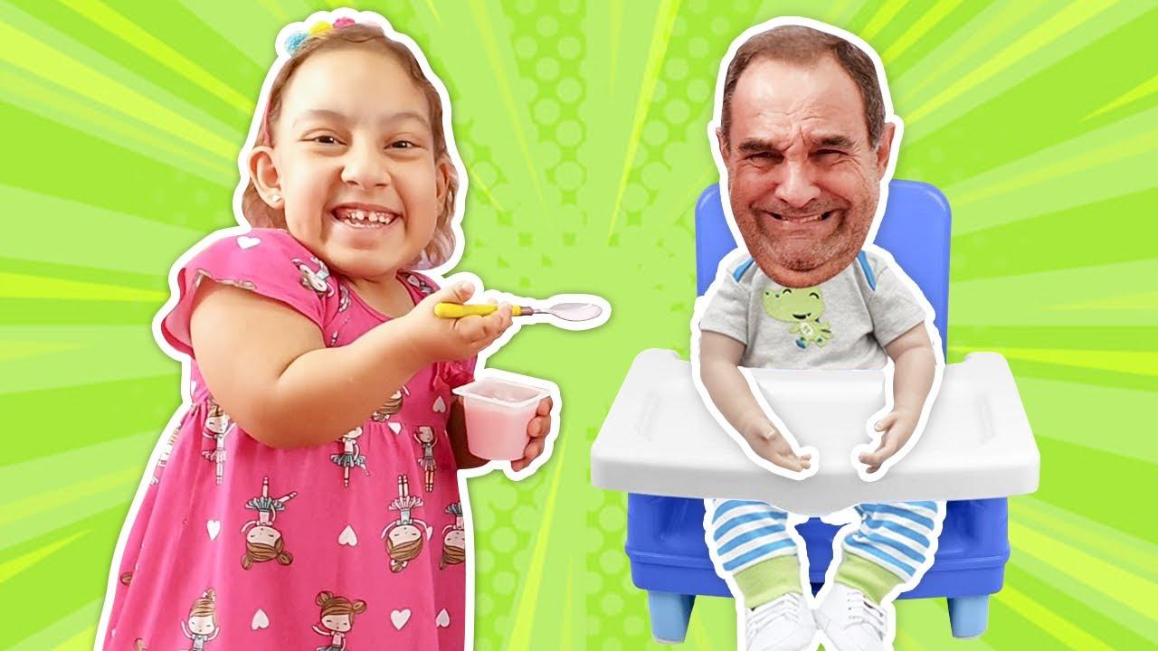 Maria Clara e vovô criaram jogos engraçados um para o outro | забавные игры - Família MC Divertida