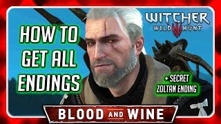 Witcher 3 🌟 BLOOD AND WINE ► How To Get All ENDINGS + Secret Zoltan Ending in the End of the Video